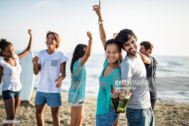 Beach party with alchohol