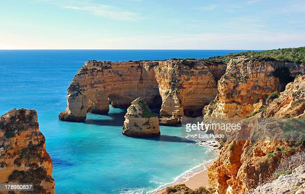 beach - algarve stock photos and pictures