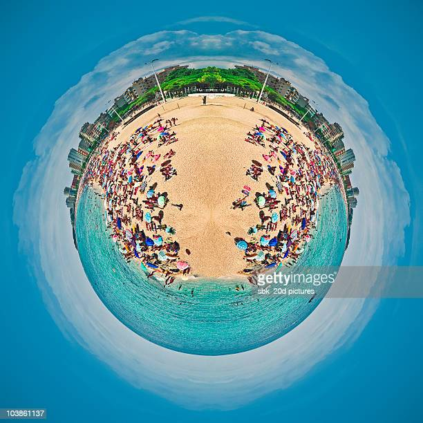 beach planet - fish eye lens stock pictures, royalty-free photos & images