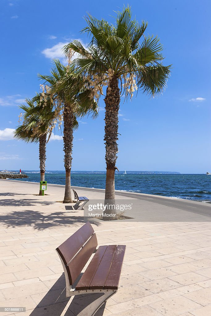 Beach promenade, harbour of Portixol, Es Molinar Playa de Palma, Palma, Sa Creu Vermella, Majorca, Balearic Islands, Spain : Foto de stock