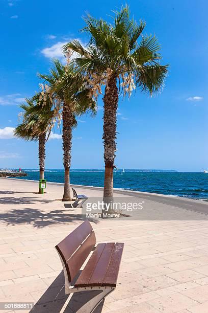 beach promenade, harbour of portixol, es molinar playa de palma, palma, sa creu vermella, majorca, balearic islands, spain - palma maiorca - fotografias e filmes do acervo