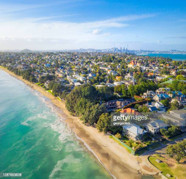 beach properties in auckland - auckland stock pictures, royalty-free photos & images