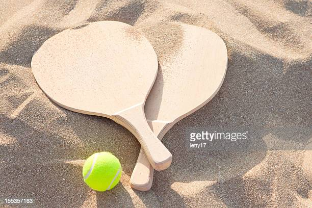 beach  racquets and ball
