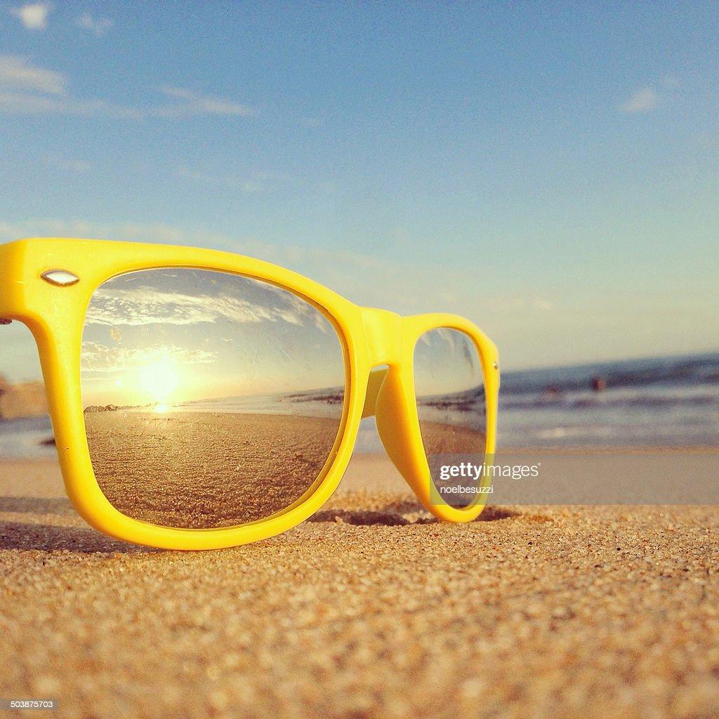 Beach reflection in sunglasses : Stock Photo