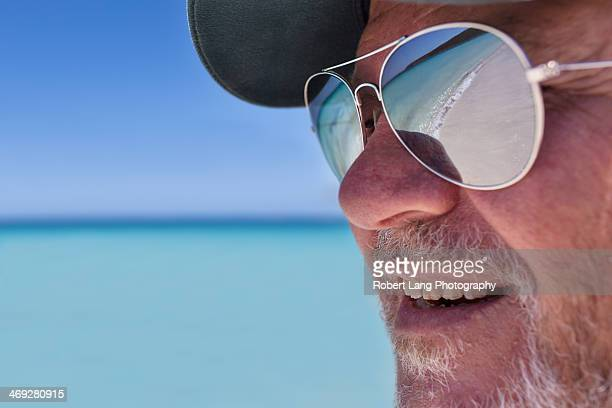 Beach reflection in sunglasses, summer
