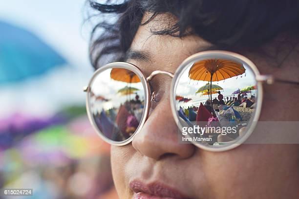 Beach reflection on sunglasses