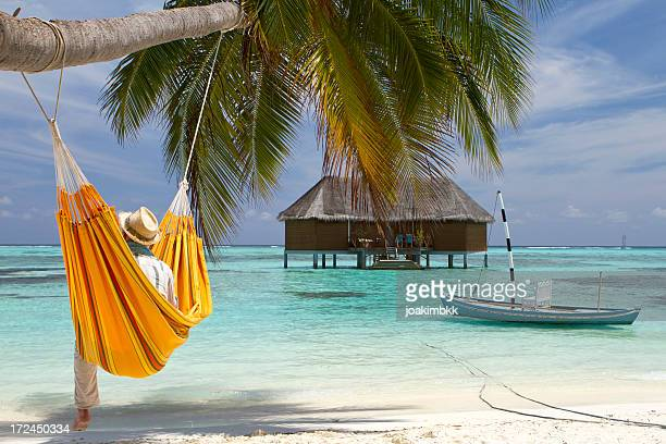 Beach relaxation in a hammock hanged on a palm tree