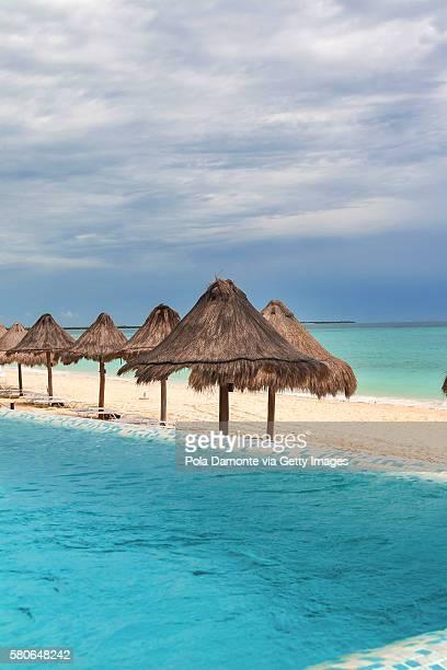 Beach resort pool at Playa del Carmen, Mexico