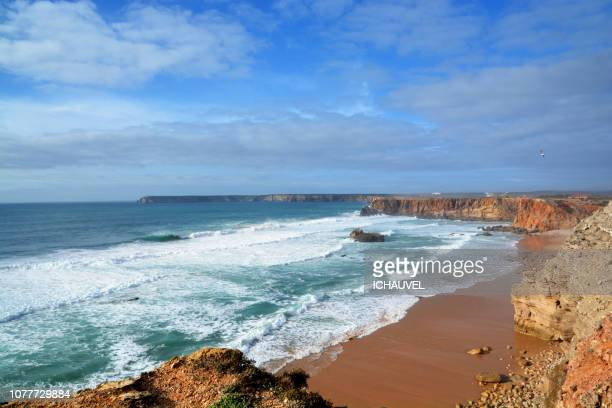 beach sagres algarve portugal - sagres stock pictures, royalty-free photos & images