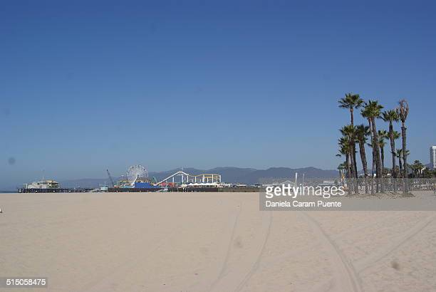 Beach Sanra Monica Pier sunny day palmtrees california