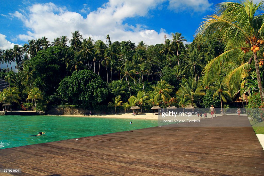 Beach Scene at Pearl Farm Resort, Philippines : Stock Photo