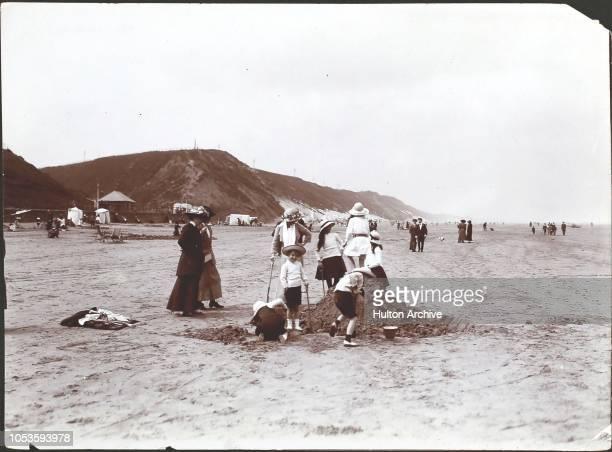 A beach scene at Saltburn near Whitby in 1913 Saltburn