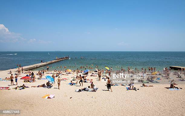 beach scene in odessa, ukraine. - odessa ukraine stock photos and pictures