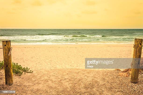 beach scene in vintage colors - anna maria island stock pictures, royalty-free photos & images