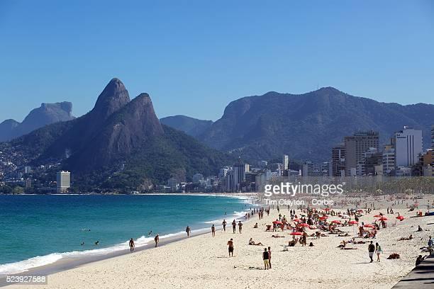 A beach scene looking along the stretch of beaches including Arpoador Ipanema and Leblon beaches Rio de Janeiro Brazil 6th July 2010 Photo Tim Clayton