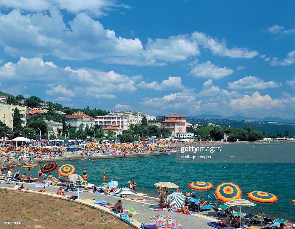 Beach scene, Opatija, Croatia. : News Photo