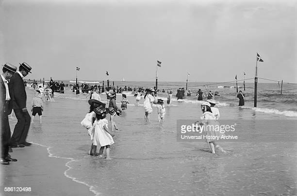 Beach Scene Rockaway New York City USA circa 1905