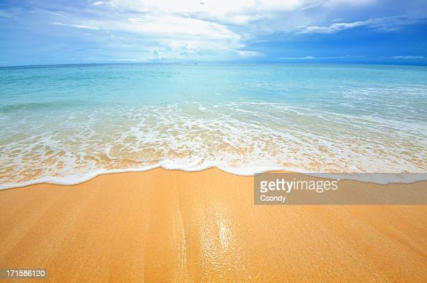 beach scene showing sand, sea and sky - waterkant stockfoto's en -beelden