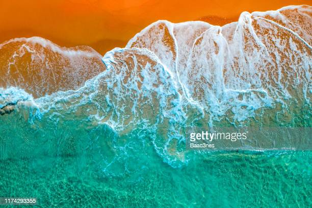 beach seen from above - vivid colors - nature stock pictures, royalty-free photos & images