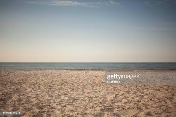 Beach seen in Bialogora, Poland on August 18, 2020.