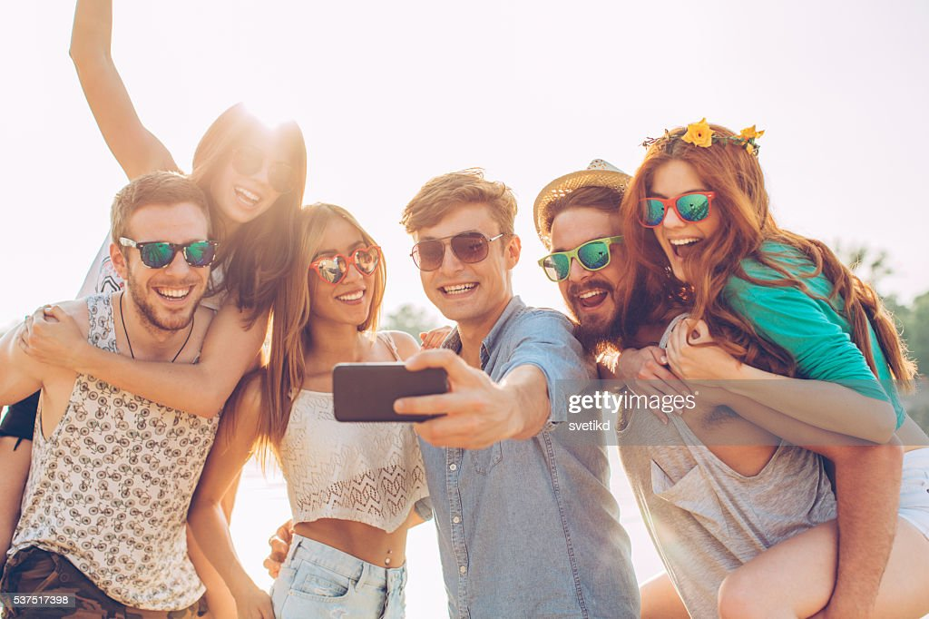Beach selfie : Stock Photo