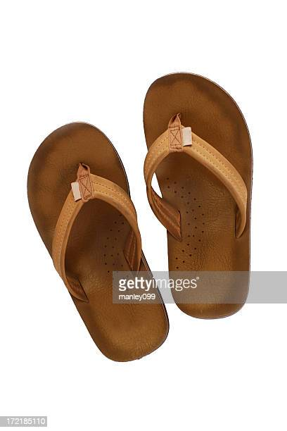 beach slippers - brown shoe stock pictures, royalty-free photos & images