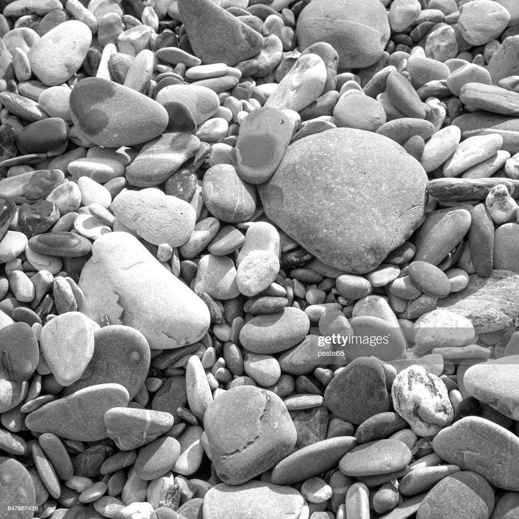 Beach Stones Black And White Photo Stock