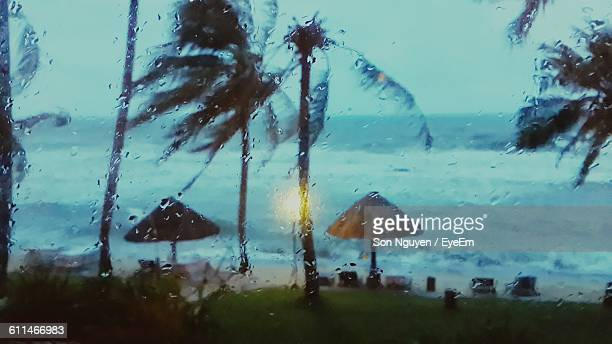 Beach Storm Seen Through Glass Window