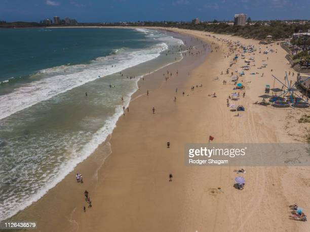 beach. summer's day. - mooloolaba stock pictures, royalty-free photos & images