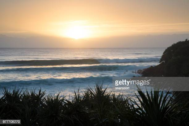 Beach sunset, Burleigh Heads, Gold Coast, Queensland, Australia