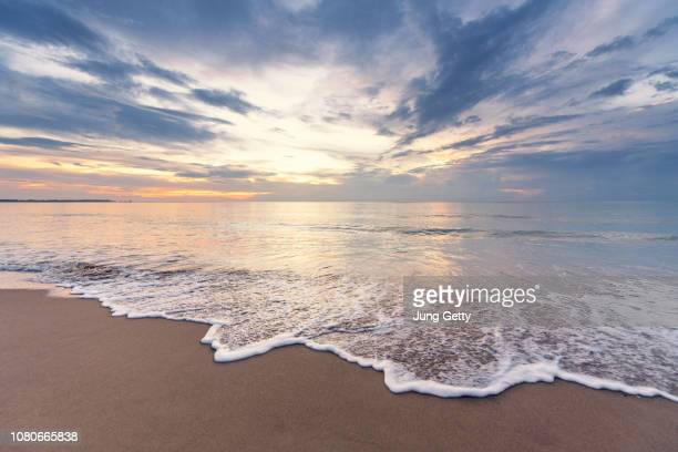 beach sunset for background - seascape stock pictures, royalty-free photos & images