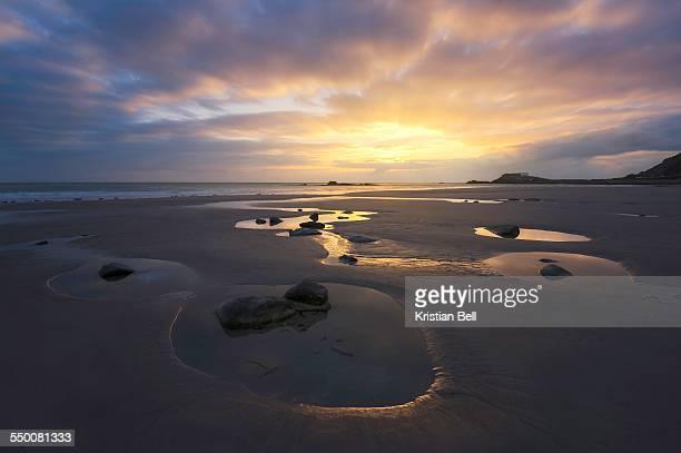 Beach sunset on the west coast of Jersey, UK