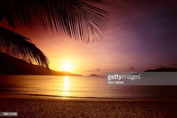 beach sunset - magens bay stock photos and pictures
