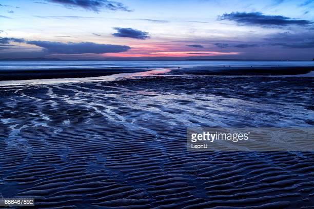 Stranden solnedgång, vit Rock, BC, Kanada