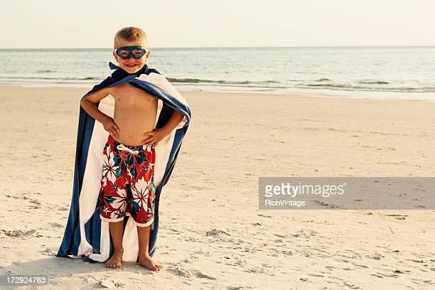 beach superhero - cape stockfoto's en -beelden