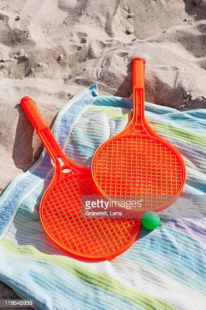 Beach tennis set on beach