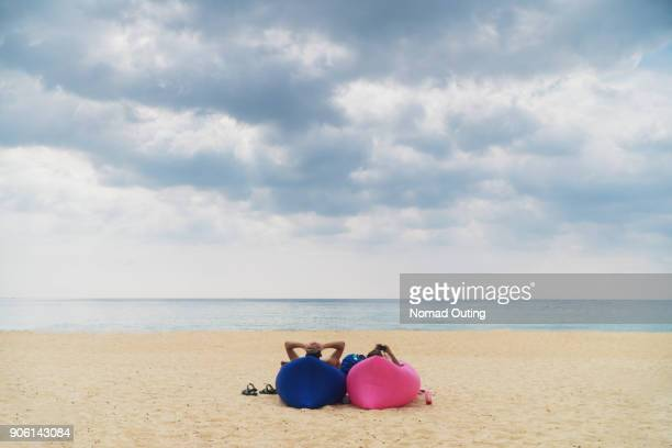 Beach therapy.Freedom thinking concept.Relaxation on the beach.Leisure lifestyle in tropical landscape.