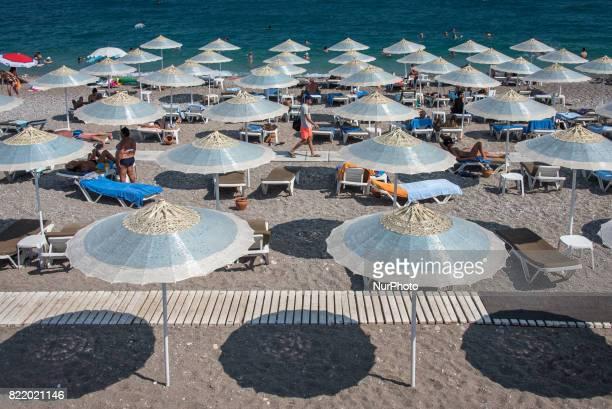 Beach Tourism in Antalya Turkey on 25 July 2017 Antalya the largest city on Turkey's Mediterranean coast is normally a popular summer destination for...