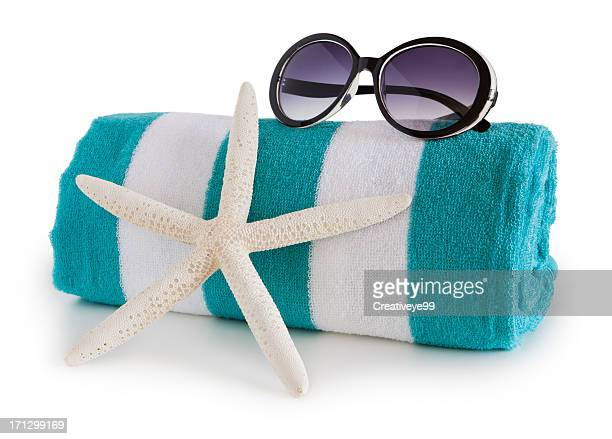 beach towel and sun glasses - group of objects stock pictures, royalty-free photos & images