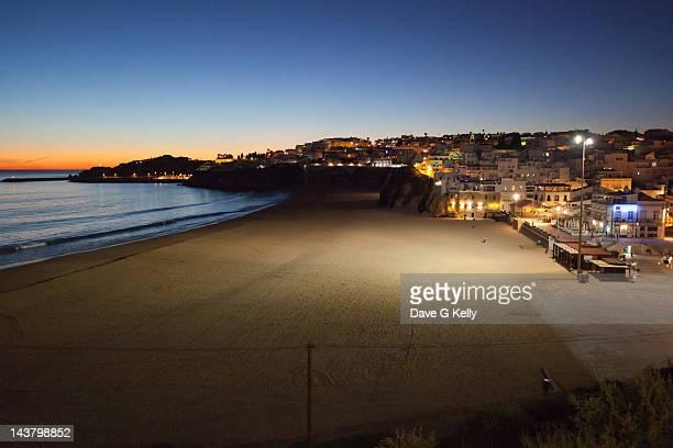 Beach town at night