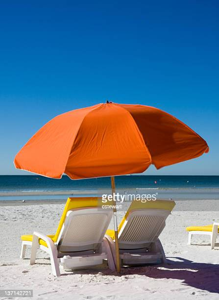 Beach Umbrella and Lounge Chair