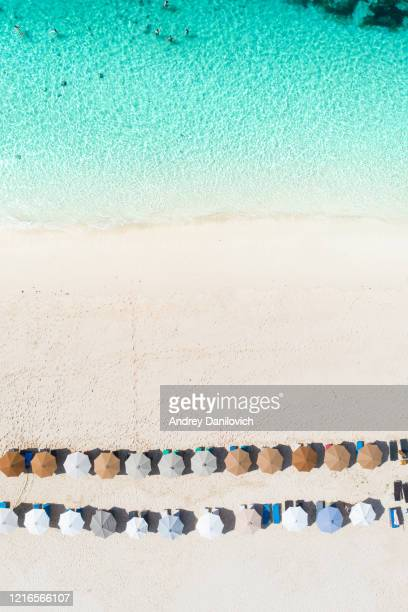 parapluies de plage et océan bleu. scène de plage d'en haut - tranquil scene photos et images de collection