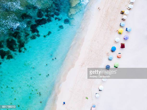 Beach umbrellas and blue ocean. Beach scene from above