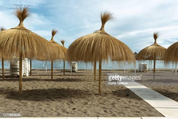beach umbrellas on an empty beach - dorte fjalland fotografías e imágenes de stock