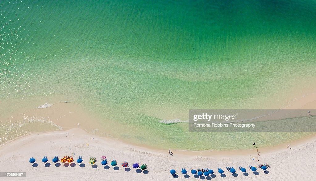 Beach umbrellas on beach, Destin, Florida, USA : Stock Photo