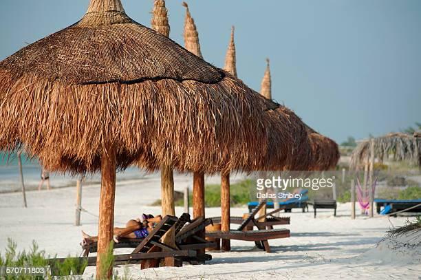 beach umbrellas on holbox island, mexico - isla holbox fotografías e imágenes de stock
