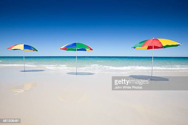 Beach umbrellas.