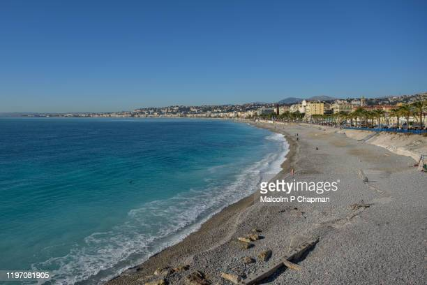 beach view, nice, cote d'azur, france - nice france stock pictures, royalty-free photos & images