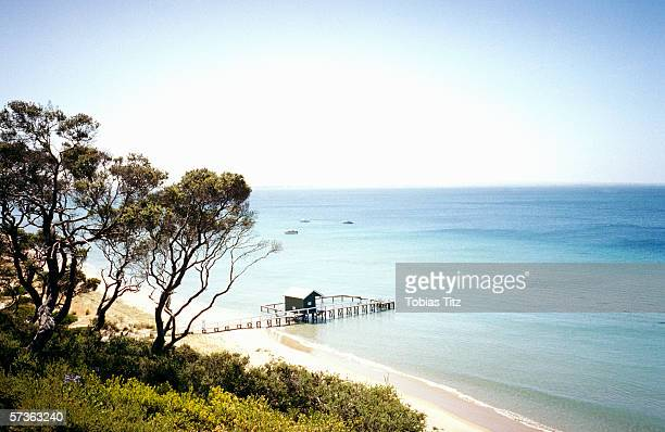 Beach view on summer day, Port Phillip Bay, Melbourne, Australia