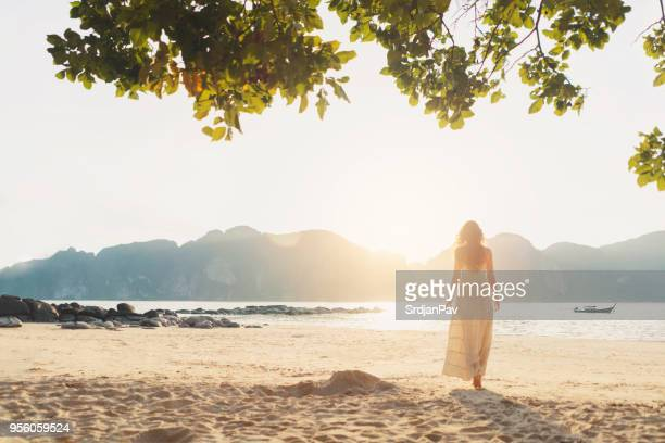 beach view - long dress stock pictures, royalty-free photos & images